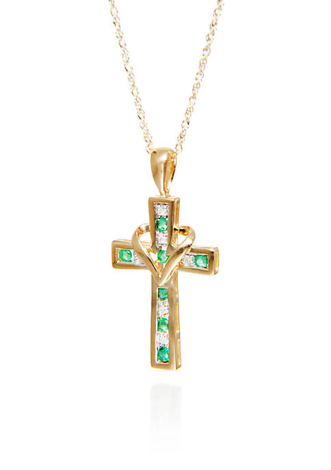 Belk & Co. Emerald & Diamond Cross Pendant