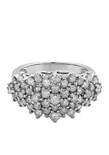 White Gold 10K 2.0 ct. t.w. Diamond Cluster Ring