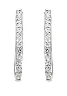Belk & Co. 1/2 ct. t.w. Diamond Hoop Earrings in 10k White Gold