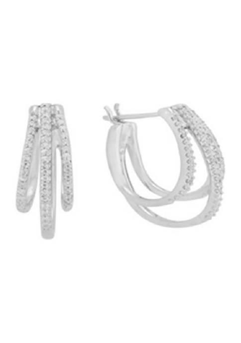 1/4 ct. t.w. Diamond Hoop Earrings in 10K White Gold