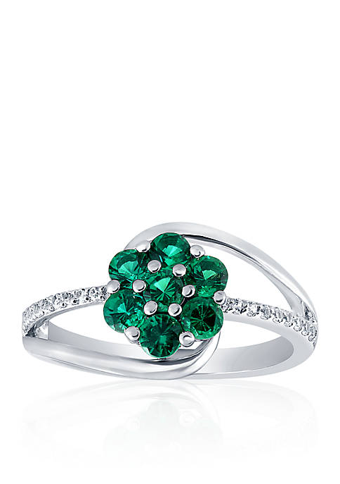Created Emerald & Created White Sapphire Flower Ring in Sterling Silver