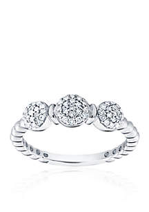 0.25 ct. t.w. Diamond Bead Ring in Sterling Silver