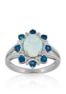 Belk & Co. Created Opal and Blue Topaz Ring in Sterling Silver