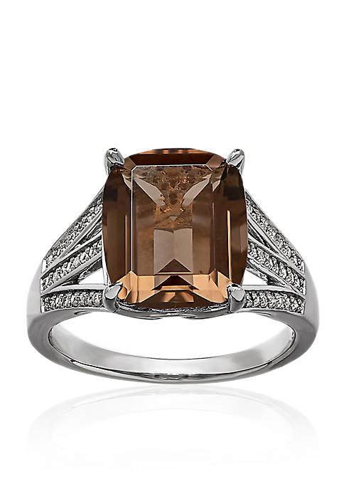 Smokey Quartz and Diamond Ring in Sterling Silver
