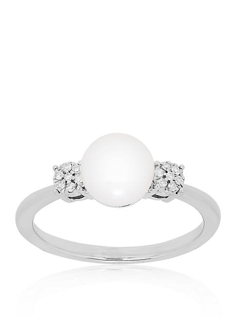 Belk & Co. Freshwater Pearl and Diamond Ring