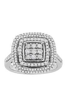 3/4 ct. t.w. Diamond Square Center Ring in Sterling Silver