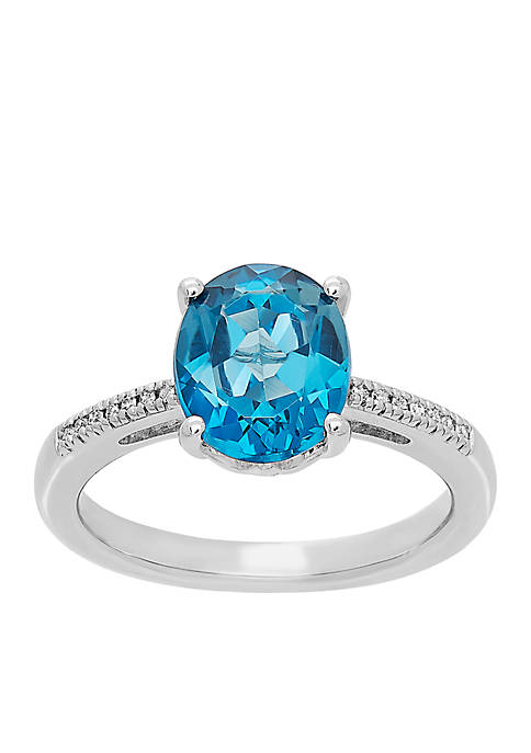 0.04 ct. t.w. Diamond and London Blue Topaz Ring in Sterling Silver