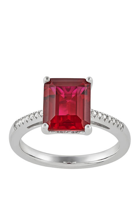 4.2 ct. t.w. Created Ruby and 1/10 ct. t.w. Diamond Ring in Sterling Silver