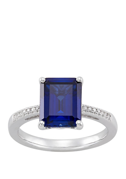 4.3 ct. t.w. Created Sapphire and 1/10 ct. t.w. Diamond Ring in Sterling Silver