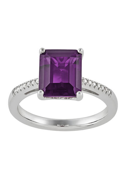 1/10 ct. t.w. Diamond and Amethyst Ring in Sterling Silver