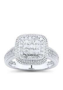 1/2 ct. t.w. Diamond Square Center Ring in Sterling Silver