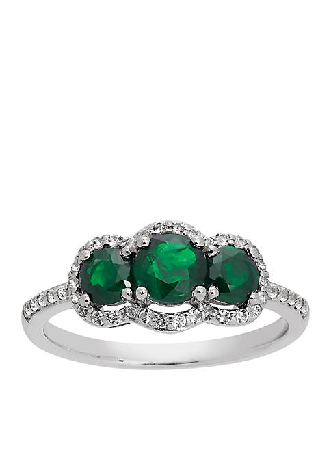 Belk & Co. Triple Stone Emerald Ring with