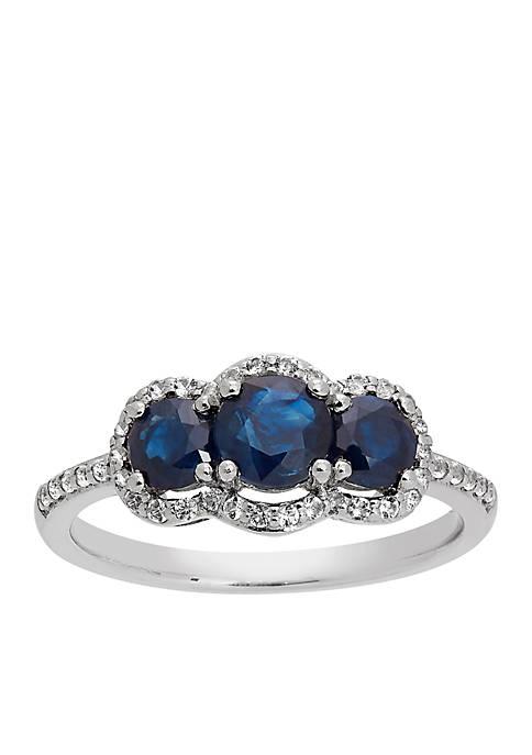 Belk & Co. Triple Stone Blue Sapphire Ring