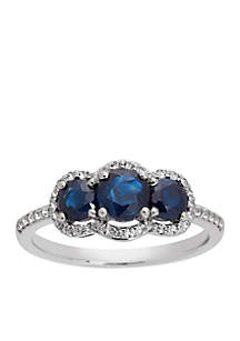 Triple Stone Blue Sapphire Ring with White Topaz in Sterling Silver