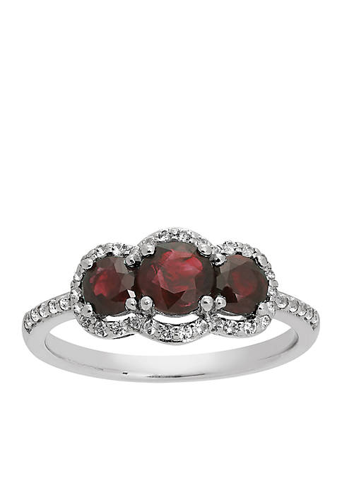 Triple Ruby Stone and White Topaz Ring in Sterling Silver