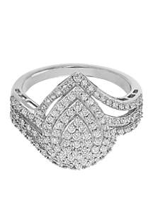 3/4 ct. t.w. Diamond Pear Shaped Ring in Sterling Silver