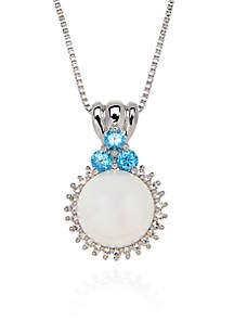 Freshwater Pearl and White and Blue Topaz Round Pendant in Sterling Silver