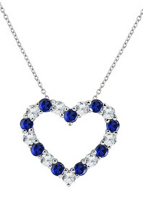 Belk & Co. Created Sapphire Heart Pendant Necklace