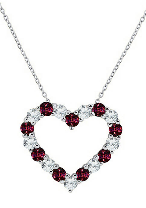 Belk & Co. Created Garnet Heart Pendant Necklace