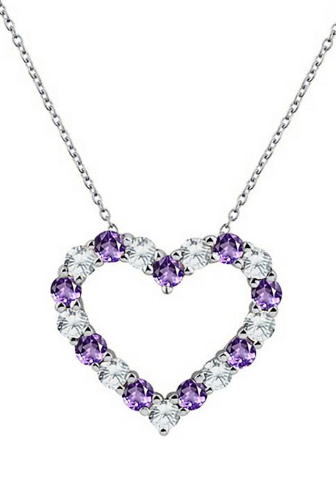 Belk & Co. Created Amethyst Heart Pendant Necklace