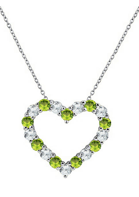 Belk & Co. Peridot Heart Pendant Necklace in