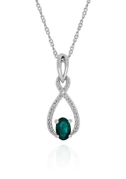 Emerald and Diamond Pendant in Sterling Silver