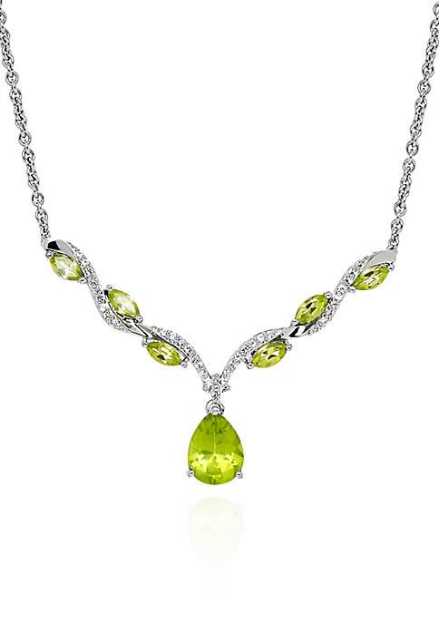 Peridot Teardrop Pendant Necklace in Sterling Silver Necklace