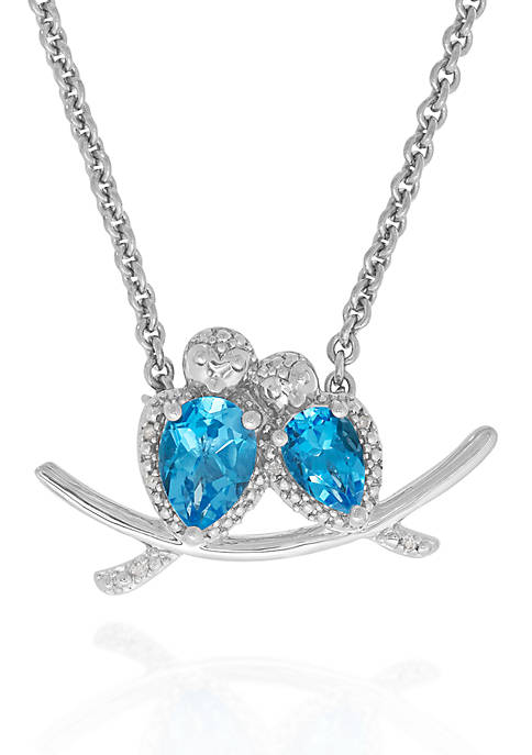 Belk & Co. Blue Topaz Necklace in Sterling