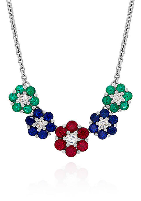 Multi Stone Flower Necklace in Sterling Silver