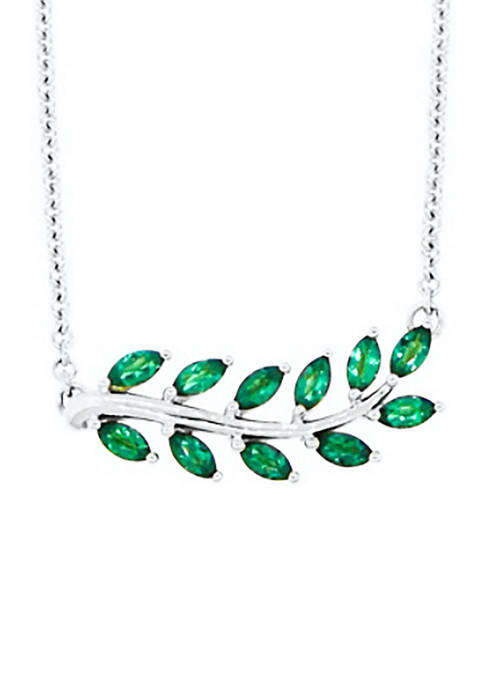 3/4 ct. t.w. Lab Created Emerald Necklace in Sterling Silver