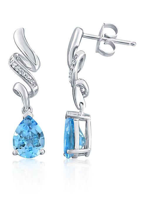 Belk & Co. Topaz and Diamond Drop Earrings