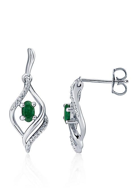 Emerald & Diamond Swirl Earrings in Sterling Silver