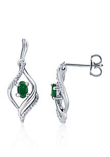 Emerald & Diamond Swirl Earrings in Sterling Silver