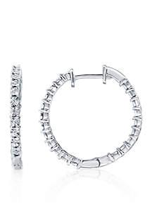 5/8 ct. t.w. Diamond Hoop Earrings in Sterling Silver