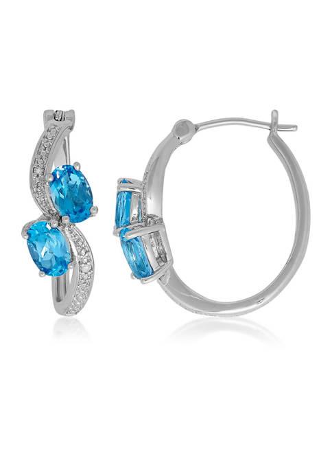 Belk & Co. Blue Topaz and Diamond Hoop