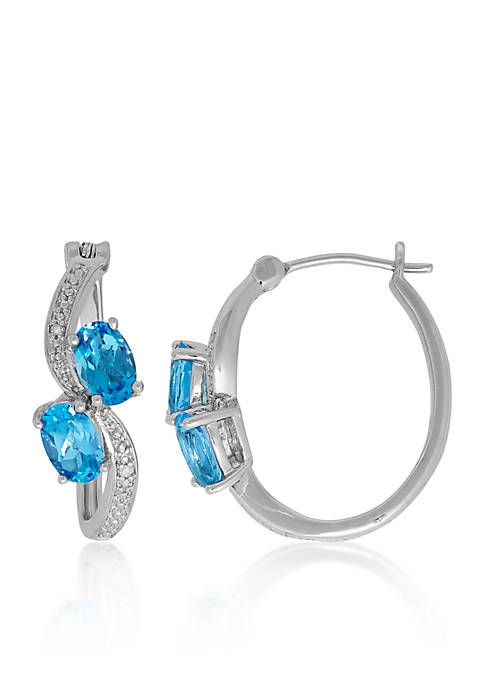 Blue Topaz and Diamond Hoop Earrings in Sterling Silver