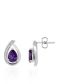 Belk & Co. Amethyst Stud Earrings in Sterling Silver