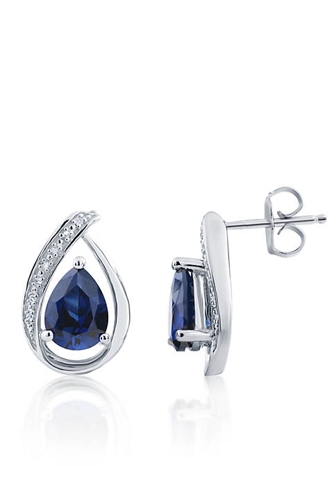 Belk & Co. Sapphire & Diamond Earrings in Sterling Silver