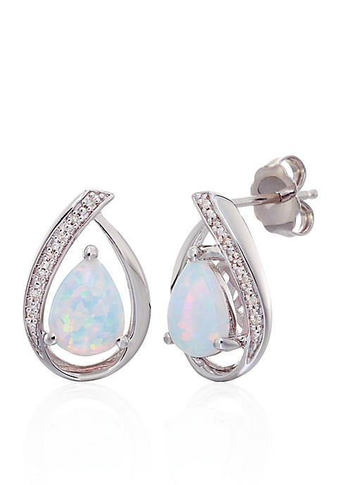 Belk & Co. Opal and Diamond Stud Earrings