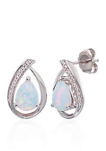 Opal and Diamond Stud Earrings in Sterling Silver