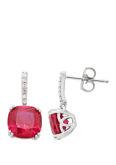 5.82 ct. t.w. Created Ruby and 1/10 ct. t.w. Diamond Drop Earrings in Sterling Silver