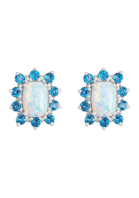 1/10 ct. t.w. Diamond and Created Opal with London Blue Topaz Earrings in Sterling Silver