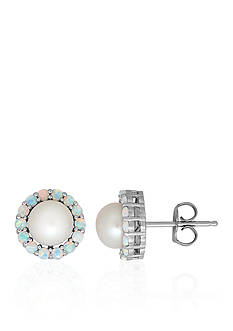 Belk & Co. Freshwater Pearl and Created Opal Earrings in Sterling Silver