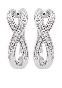 1/6 ct. t.w. Diamond Twist Hoop Earrings in Sterling Silver