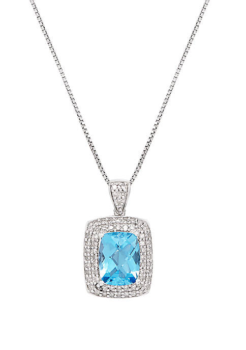 Swiss Blue Topaz with 1/3 ct. t.w. Diamond Pendant Necklace in Sterling Silver