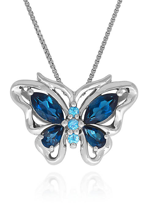 Belk & Co. Blue Topaz Butterfly Pendant in