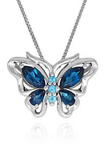 Blue Topaz Butterfly Pendant in Sterling Silver