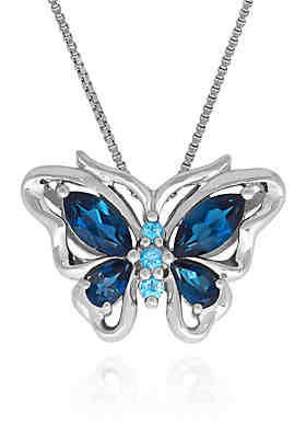 Blue Topaz Butterfly Pendant in Sterling Silver ...