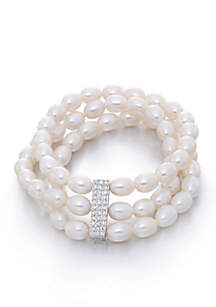 Freshwater Pearl and Cubic Zirconia Bracelet in Sterling Silver