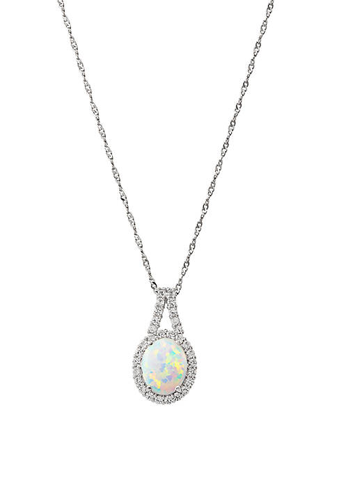Created Opal & Created White Sapphire Pendant in Sterling Silver